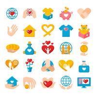 Conjunto de ícones plana de doação de caridade