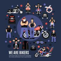 Conjunto de ícones de motociclistas vetor
