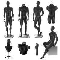 mannequins men realistic black image set vetor