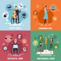 Conjunto de ícones do conceito de pessoas com deficiência vetor