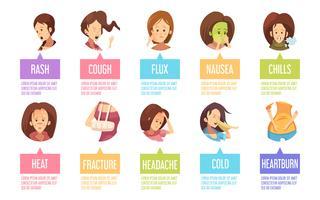 Conjunto de ícones de mulher de doença dos desenhos animados