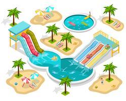 Composição de parque aquático isométrica