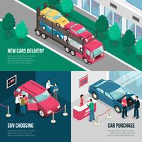 Conjunto de conceito de Design de locação de concessionária de carro