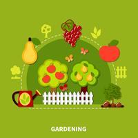 Composição plana de ferramentas de jardinagem