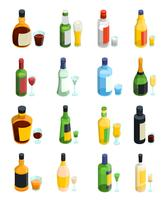 Conjunto de ícones coloridos de álcool isométrico vetor