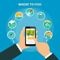 Conceito de localizador de área de pesca vetor