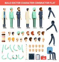 Macho médico personagem construtor plana