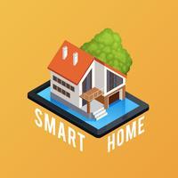 Cartaz de composição isométrica casa inteligente
