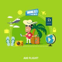Composição de viagens de cruzeiro tropical vetor