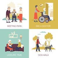 Conceito de Design de pessoas de idade avançada 2 x 2 vetor