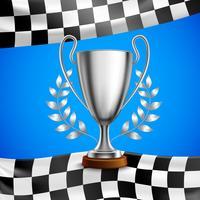 Poster realístico de prata do troféu do vencedor vetor