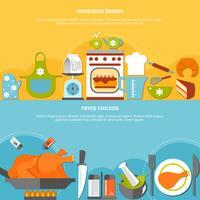 Banners horizontais planos culinários caseiros vetor