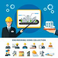 Fundo de coleção de pictogramas de engenharia