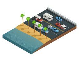 Veículos recreativos na composição isométrica da estrada vetor