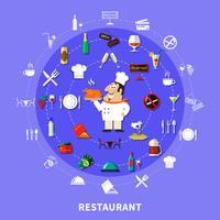 Composição redonda dos símbolos do restaurante vetor