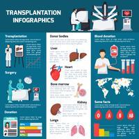 Infografia ortogonal de transplante vetor