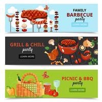 Banners de festa para churrasco da família vetor