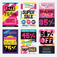 Conjunto de cartazes brilhantes de venda