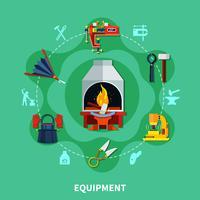 Composição de ícones de ferramentas de ferreiros vetor
