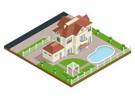 Composição isométrica da casa do subúrbio vetor
