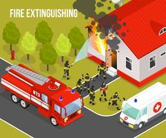 Composição do corpo de bombeiros vetor