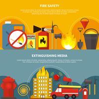 Banners de combate a incêndios planas vetor