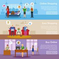 Banners horizontais de compras on-line vetor