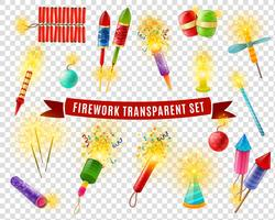 Conjunto de fundo transparente Firework Sparlers Firecrackers