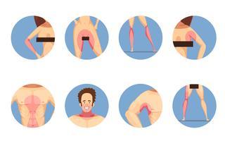 Conjunto de ícones de mulher de homem de zonas de depilação