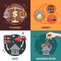 Conceito de crédito da dívida 4 ícones planas