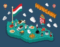 Mapa turístico isométrico de Hungria vetor