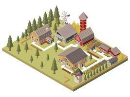 Ilustração isométrica de edifícios de fazenda