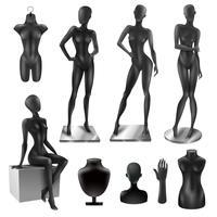 Conjunto de imagem preto realista de mulheres de manequins vetor