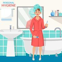 Composição de interiores de casa de banho de higiene vetor