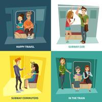 Conjunto de ícones do metrô pessoas conceito vetor