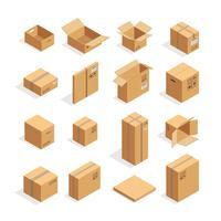 Conjunto de caixas de embalagem isométrica vetor