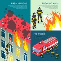 Conjunto de conceito de Design de bombeiros vetor