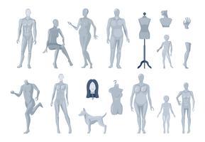 Coleção de ícones de manequins janela e alfaiate vetor