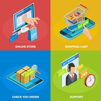 Compras on-line 4 Isometric Icons Square