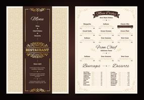 Menu de restaurante Vintage Design vetor