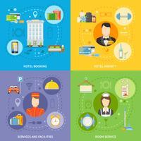 Conjunto de ícones do conceito de serviço do Hotel vetor