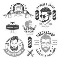 Emblemas monocromáticos de barbearia vetor