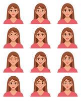 Conjunto de rostos femininos