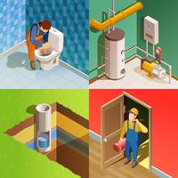 Plumber 4 Colorful Isometric icons Square