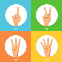 Conjunto de conceito de Design mãos 2 x 2 vetor