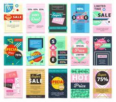 Banners de vendas quentes plana grande coleção