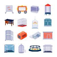 Conjunto de ícones de caixa de animais