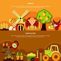 Coleção de Banners Horizontais de Horticultura