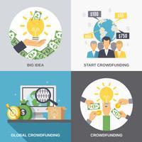Conceito de design de crowdfunding 2 x 2