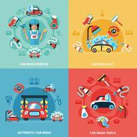 Conjunto de composições de lavagem de carros vetor
